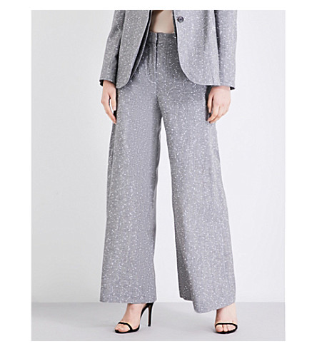 TOPSHOP Unique Fontana wide-leg wool-blend trousers (Grey