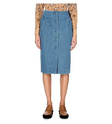 TOPSHOP Unique Whitcomb denim midi skirt (Bleach+blue