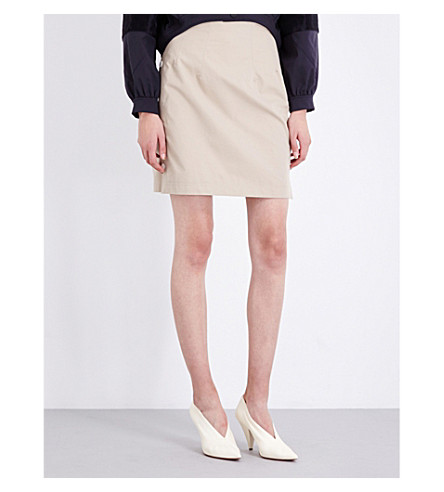 TOPSHOP Unique leather mini skirt (Cream