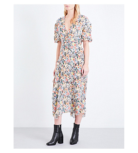 TOPSHOP Unique floral-print silk dress (Sky+meadow+cream