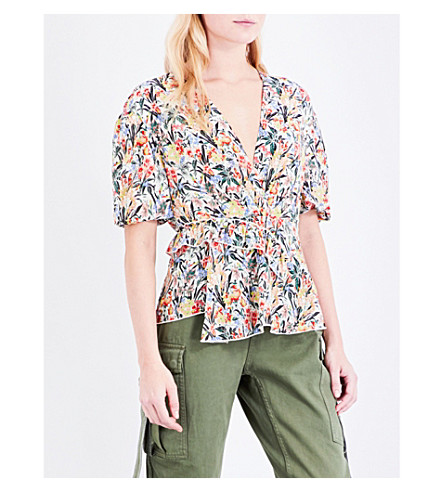TOPSHOP Unique floral-print silk blouse (Sky+meadow+cream