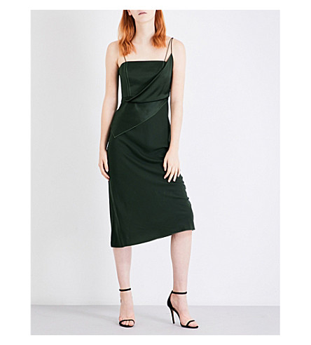 TOPSHOP Unique Inspiral silk-satin dress (Green