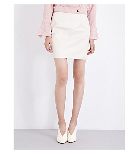 TOPSHOP Unique Milton cotton mini skirt (Beige