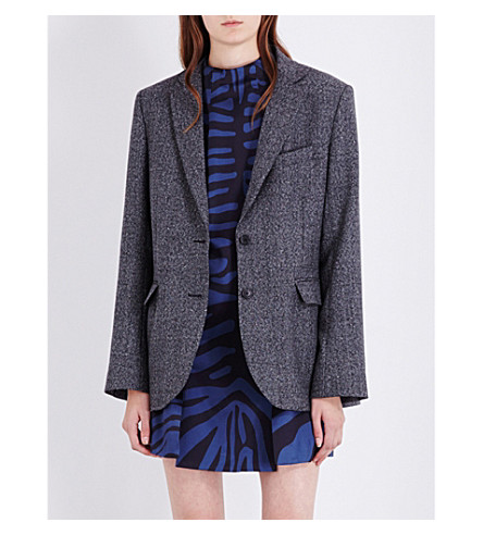 TOPSHOP Unique oversized wool-blend blazer (Black+&+white