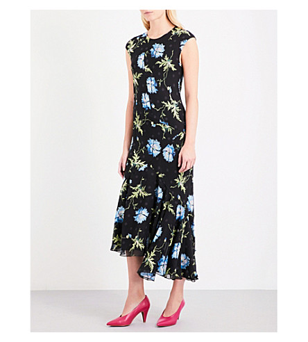 TOPSHOP Unique floral-print silk dress (Poppy+black