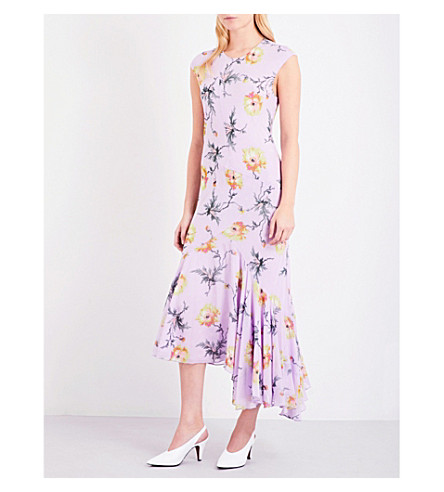 TOPSHOP Unique floral-print silk dress (Poppy+lilac