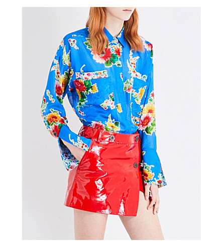 TOPSHOP Unique Sound Garden silk shirt (Blue