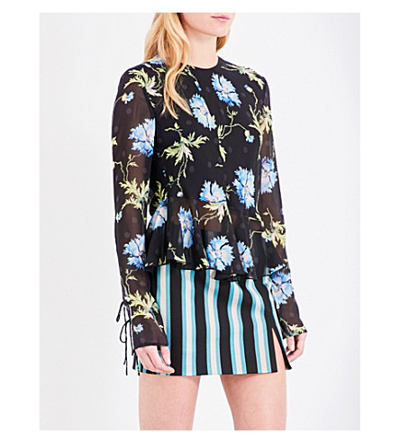 TOPSHOP Unique floral-print silk blouse (Poppy+black