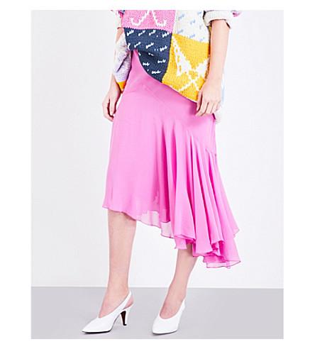 TOPSHOP Unique bias-cut silk skirt (Cerise