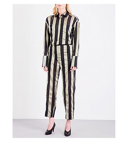 TOPSHOP Unique striped silk-blend jumpsuit (Gold