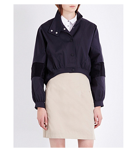 TOPSHOP Unique high-neck shell jacket (Navy