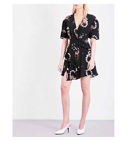 TOPSHOP Unique floral-print silk dress (Black+fawn
