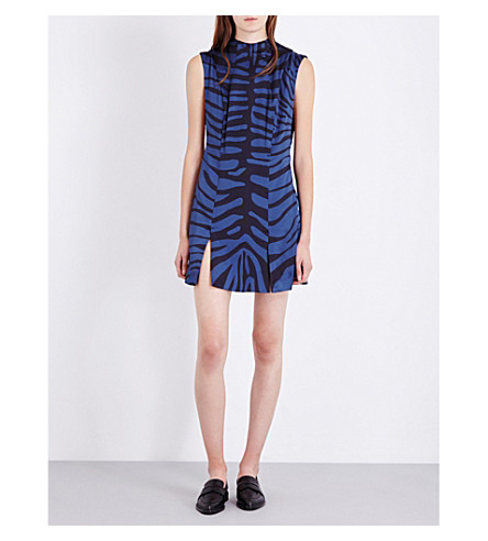 TOPSHOP Unique silk-satin zebra-print dress (Navy/black+zebra