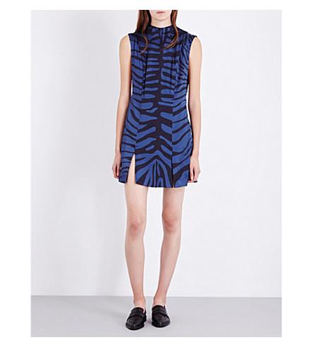 TOPSHOP Unique silk-satin zebra-print dress (Navy/black+zebra