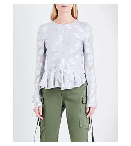 TOPSHOP Unique floral silk-blend blouse (Silver