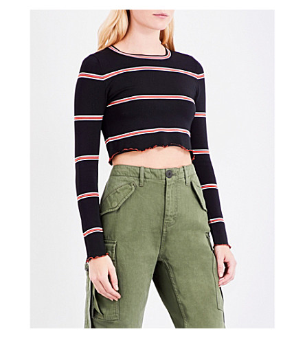 TOPSHOP Unique striped knitted jumper (Black