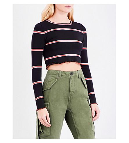 TOPSHOP Unique striped knitted jumper (Black