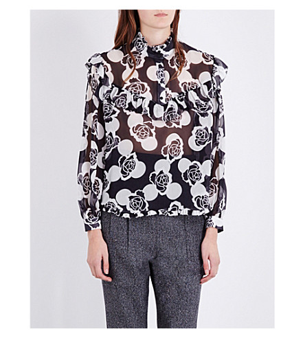 TOPSHOP Unique floral-print silk-chiffon blouse (Polka+rose+-+black