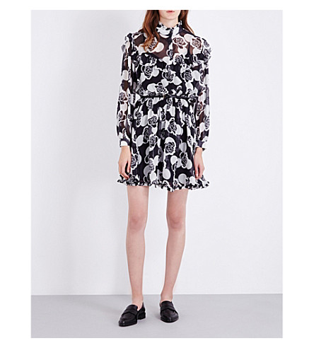 TOPSHOP Unique floral-print silk-chiffon dress (Polka+rose+-+black
