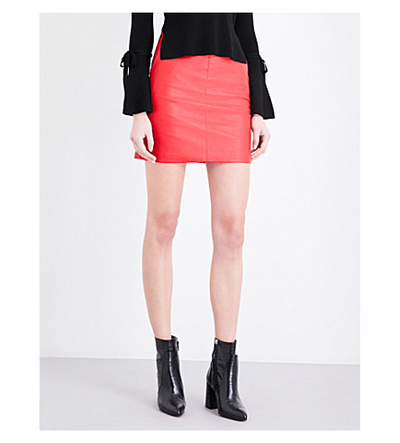 TOPSHOP Super high-waist faux-leather skirt (Red