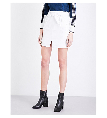 TOPSHOP Paperbag leather mini skirt (White