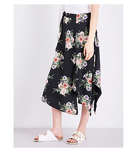 TOPSHOP Floral-print woven skirt (Multi