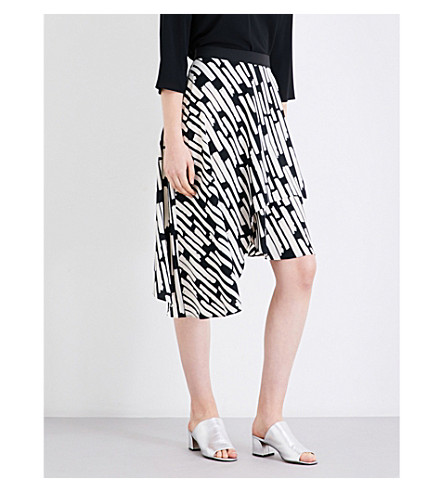 TOPSHOP Abstract striped high-rise crepe skirt