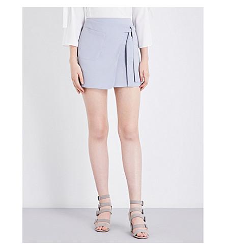 TOPSHOP Utility Wrap Tie crepe mini skirt (Silver+blue