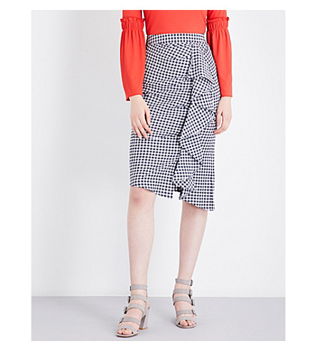 TOPSHOP Gingham ruffled cotton-blend midi skirt (Blue