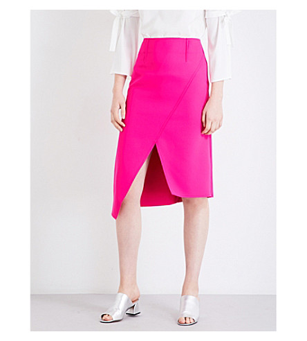 TOPSHOP Asymmetric-panel high-rise crepe midi skirt (Hot+pink