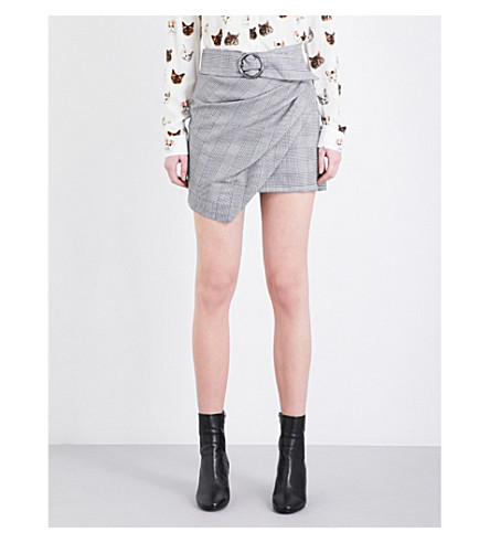 TOPSHOP Wrap Belted Check crepe mini skirt