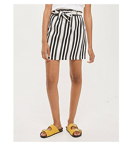 TOPSHOP Striped paperbag skirt