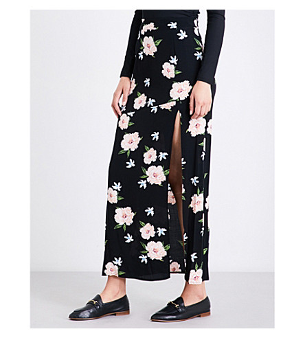 TOPSHOP Floral-print crepe maxi skirt (Black