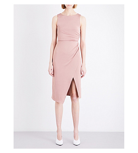 TOPSHOP Slinky stretch midi dress (Dark+nude