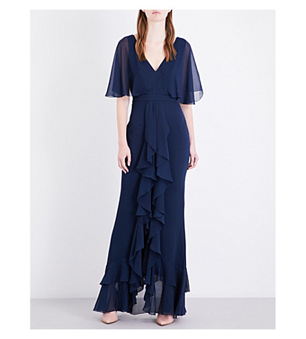 TOPSHOP Angel Sleeve Ruffle chiffon maxi dress (Navy+blue