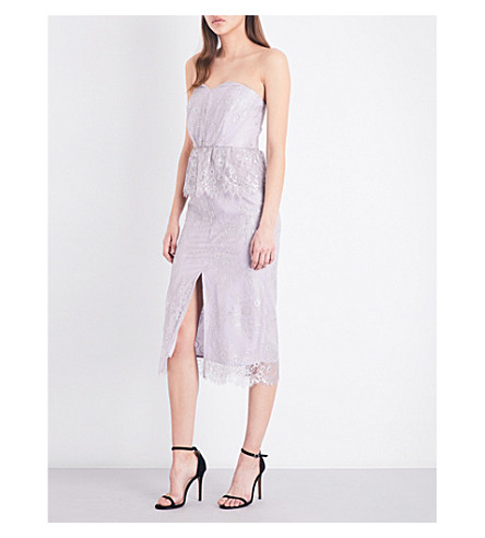 TOPSHOP Peplum lace bandeau dress (Mauve
