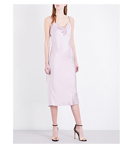 TOPSHOP Cowl Tie satin slip dress (Lilac