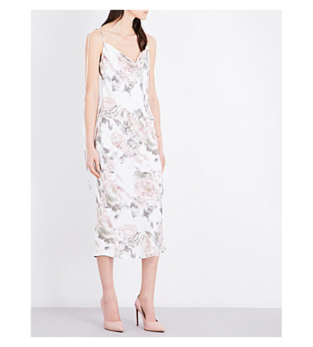 TOPSHOP Floral-print satin dress (Multi