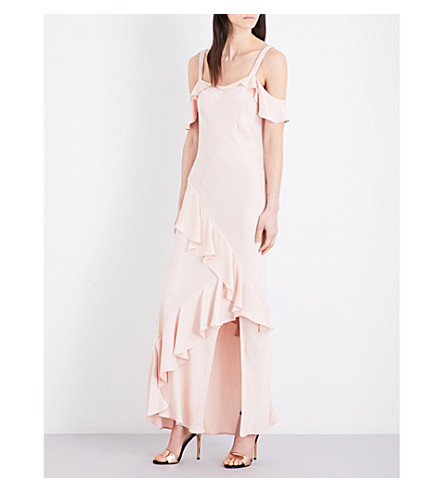 TOPSHOP Cold-shoulder satin dress (Amber