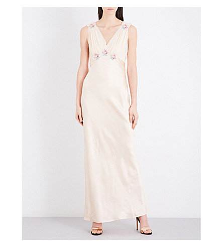 TOPSHOP Floral silk maxi dress (Nude