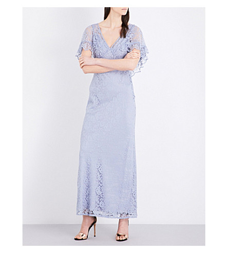 TOPSHOP Cape lace maxi dress (Dusty+blue