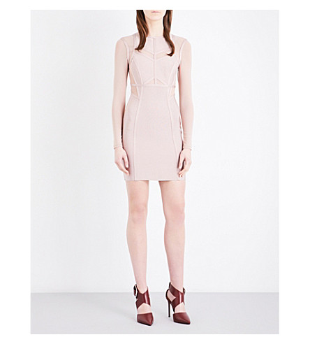 TOPSHOP Mesh-panel stretch-knit midi dress (Nude