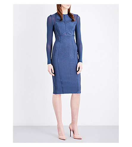 TOPSHOP Panelled knitted dress (Blue