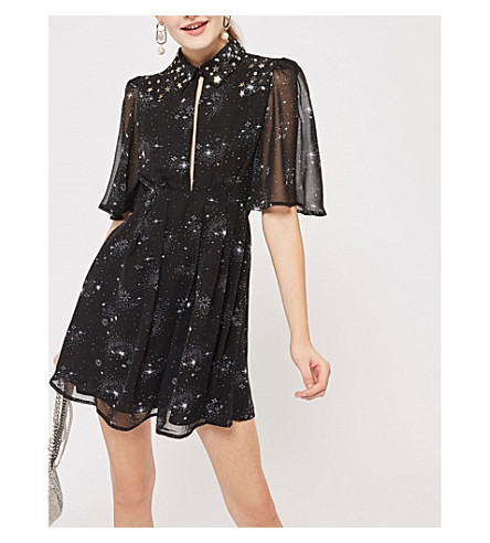 TOPSHOP Star-embroidered chiffon dress (Black