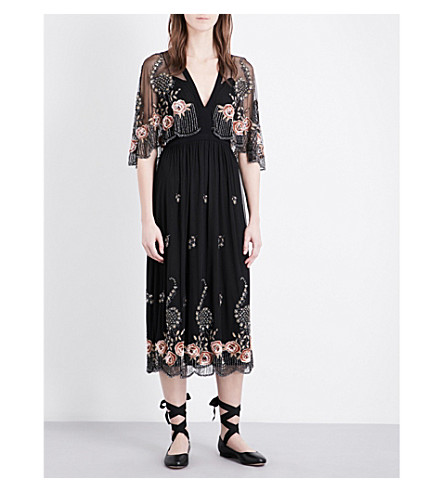 TOPSHOP Cape-detail embellished dress (Black