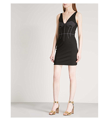 TOPSHOP Contrast-stitch woven mini dress (Black