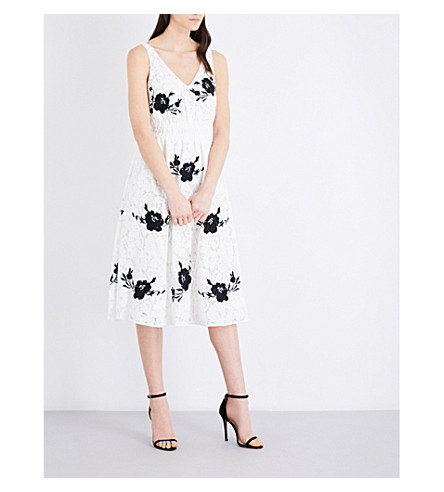 TOPSHOP Embroidered lace midi dress (White