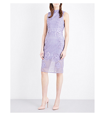 TOPSHOP Floral-appliqué lace dress (Lilac