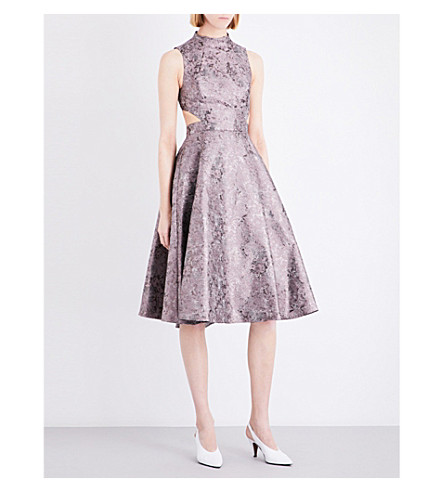 TOPSHOP Metallic jacquard dress (Grey
