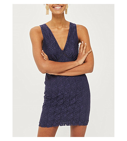 TOPSHOP Lace-up detail lace dress (Blue